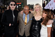 "Actor/singer Marilyn Manson, executive producer Paris Barclay, actress/singer Courtney Love and actress Lea Michele arrive at the season 7 premiere screening of FX's ""Sons of Anarchy"" at the Chinese Theatre on September 6, 2014 in Los Angeles, California."