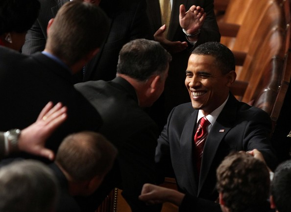 U.S. President Barack Obama entets the chamber before speeking to both houses of Congress during his first State of the Union address at the U.S. Capitol on January 27, 2010 in Washington, DC. Since taking office a little over a year ago, Obama's approval ratings have dropped significantly according to recent polls.