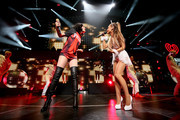Singers Jessie J (L) and Ariana Grande perform onstage at the Q102's Jingle Ball 2014 at Wells Fargo Center on December 10, 2014 in Philadelphia, Pennsylvania.