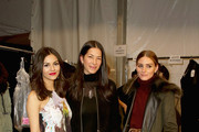 (L-R) Victoria Justice, Rebecca Minkoff and Olivia Palermo pose backstage at the Rebecca Minkoff fashion show during Mercedes-Benz Fashion Week Fall 2015 at The Pavilion at Lincoln Center on February 13, 2015 in New York City.