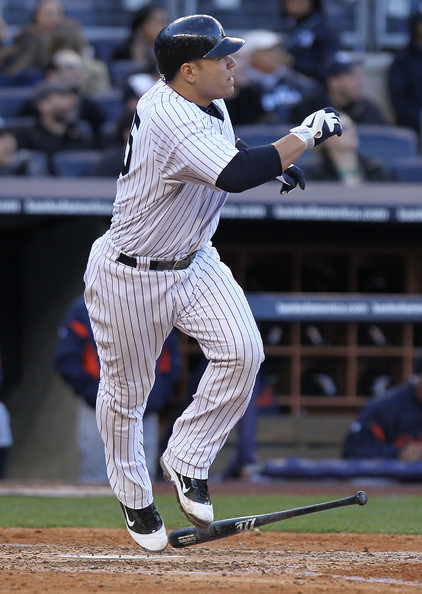 Russell Martin Russell Martin #55 of the New York Yankees hits a 3 RBI homerun in the fifth inning against the Detroit Tigers at Yankee Stadium on April 2, 2011 in the Bronx borough of New York City.
