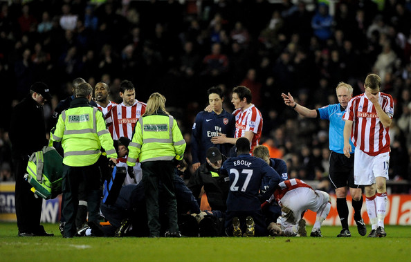 Ryan Shawcross of Stoke City is sent off by Referee Peter Walton for a challenge on Aaron Ramsey of Arsenal during the Barclays Premier League match between Stoke City and Arsenal at The Britannia Stadium on February 27, 2010 in Stoke on Trent, England.