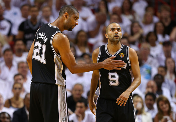 Tim Duncan and Tony Parker - Miami Heat v San Antonio Spurs: Game 6