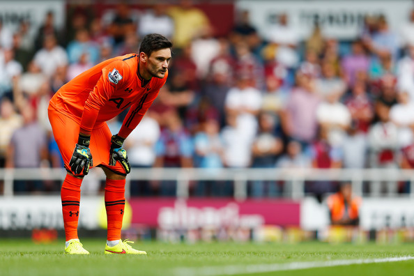 Hugo Lloris of Spurs in action during the Barclays Premier League match between West Ham United and Tottenham Hotspur at Boleyn Ground on August 16, 2014 in London, England.