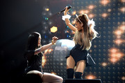 Jessie J (L) and Ariana Grande performs onstage during Y100's Jingle Ball 2014 at BB&T Center on December 21, 2014 in Miami, FL.