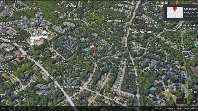 Map of the Raleigh neighborhood where the zebra cobra snake was last seen.