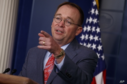 White House chief of staff Mick Mulvaney announces that the G7 will be held at Trump National Doral, Thursday, Oct. 17, 2019,…