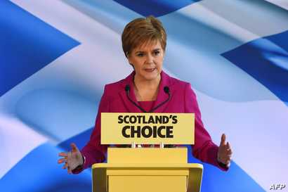 Scottish National Party (SNP) leader and Scotland's First Minister Nicola Sturgeon speaks in Edinburgh on December 13, 2019. -…