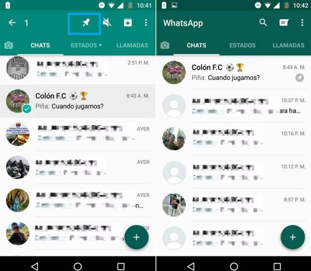 Anclar chats en WhatsApp