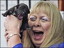 Bernann McKinney with cloned Pit Bull puppies
