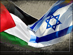 A Two-State Solution - Flags of the Palestinians and Israelis