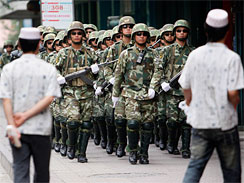 The violence flared on July 5 after police broke up a protest by Uighur youths demanding an investigation into a deadly brawl between Han and Uighur workers at a toy factory thousands of miles away in southern China.