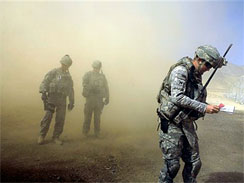 U.S. troops at combat outpost in the Jalrez Valley in Afghanistan's Wardak Province on Friday, Sept. 25, 2009. (AP Photo/Maya Alleruzzo)