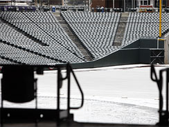 Coors Field was covered in snow and ice this morning.