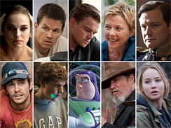 Movies up for Best Picture include _Black Swan,_ _The Fighter,_ _Inception,_ _The Kids Are All Right,_ _The King's Speech,_ _127 Hours,_ _The Social Network,_ _Toy Story 3,_ _True Grit,_ and _Winter's Bone._