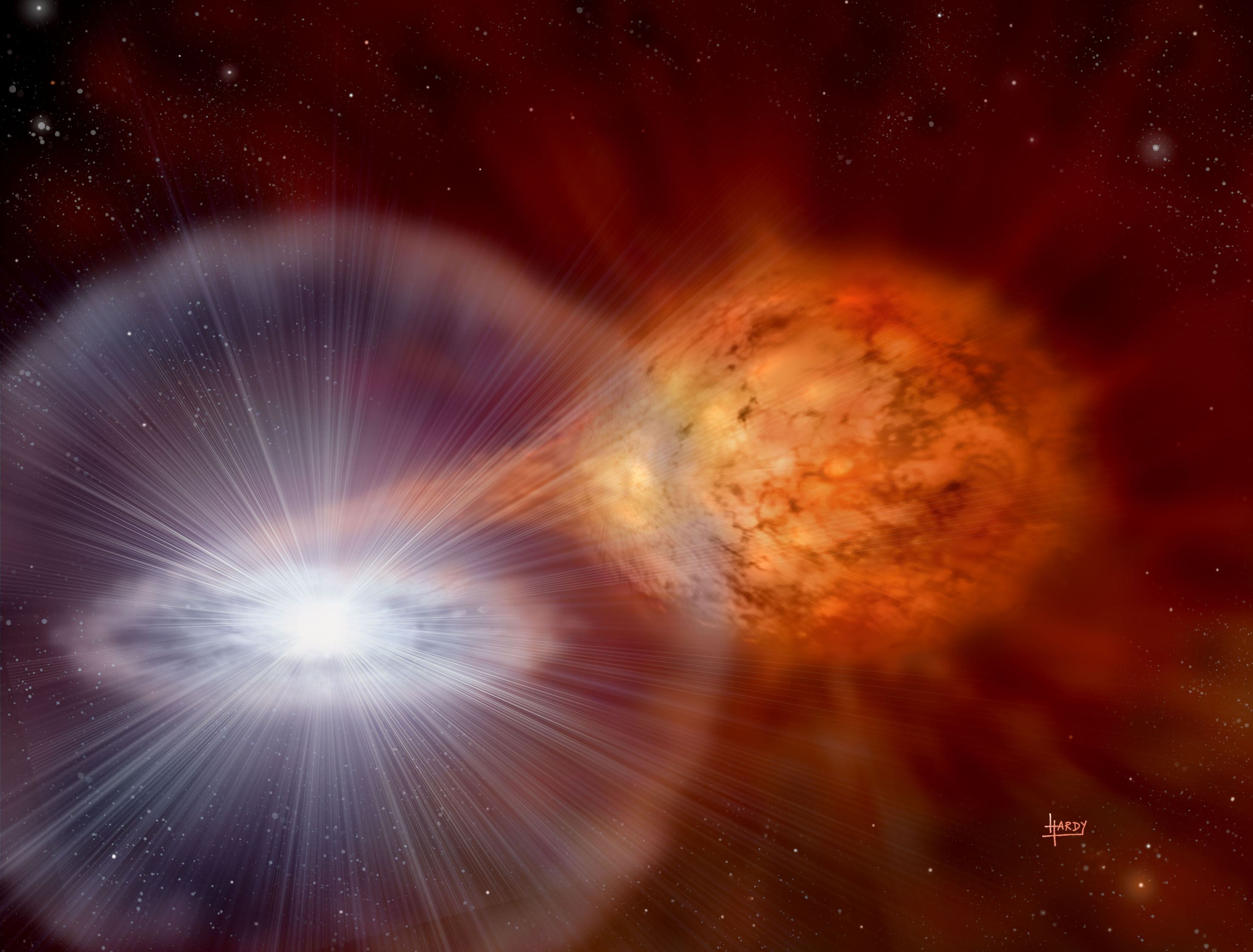 A white dwarf accreting material from a non-degenerate companion. Copyright: David A. Hardy/AstroArt.org.