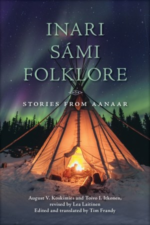 A fire burns inside a teepee in the snow. Northern lights in the background