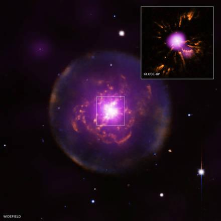 La stella Abell 30 che ha ripreso a brillare (Fonte: ESA/XMM-Newton; NSF/NOAO/KPNO; NASA/CXC/IAA-CSIC/M. Guerrero et al; NASA/STScI)