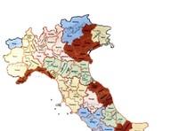 La cartina dell'Italia con i confini delle nuove province