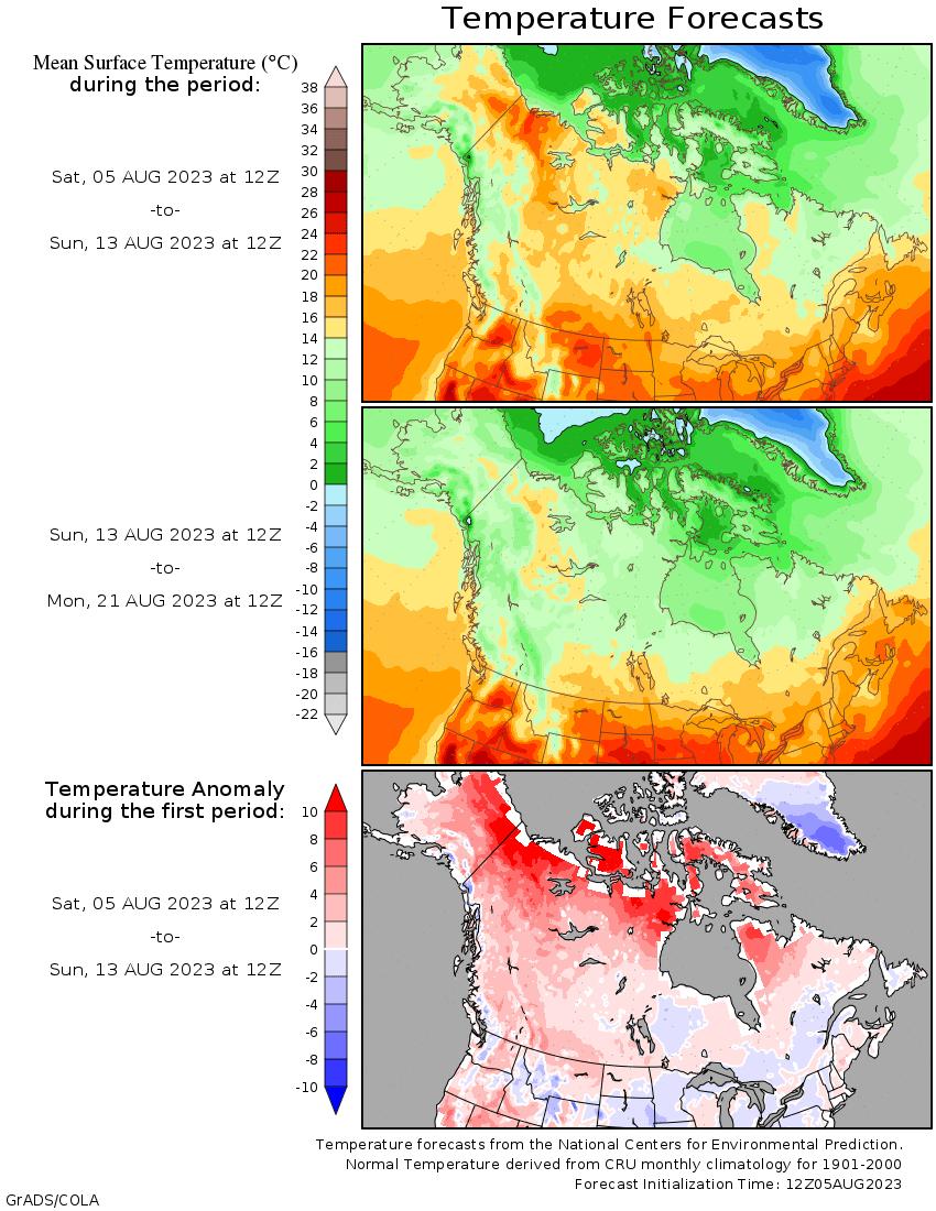 map of Alaska Canada temperature deviations
