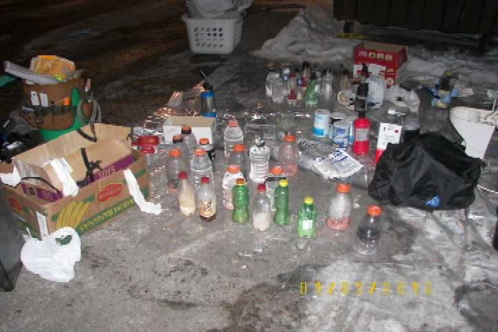 Remnant of a meth lab after raid by authorities