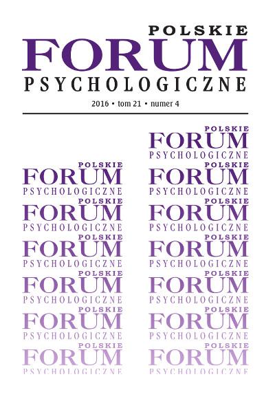 Polskie Forum Psychologiczne tom 21 numer 4