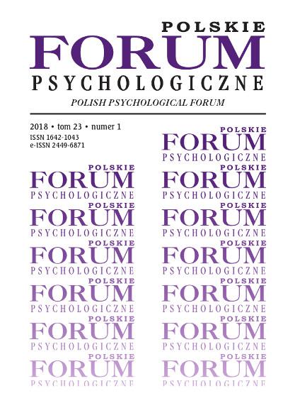 Polskie Forum Psychologiczne tom 23 numer 1