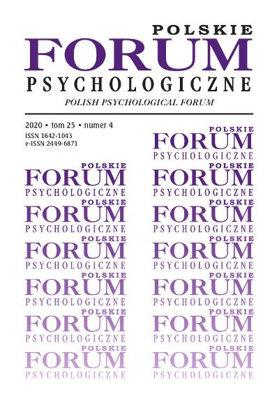 Polskie Forum Psychologiczne tom 25 numer 4