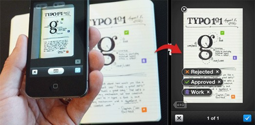 Evernote's camera and note pad link handwritten notes to digital notes