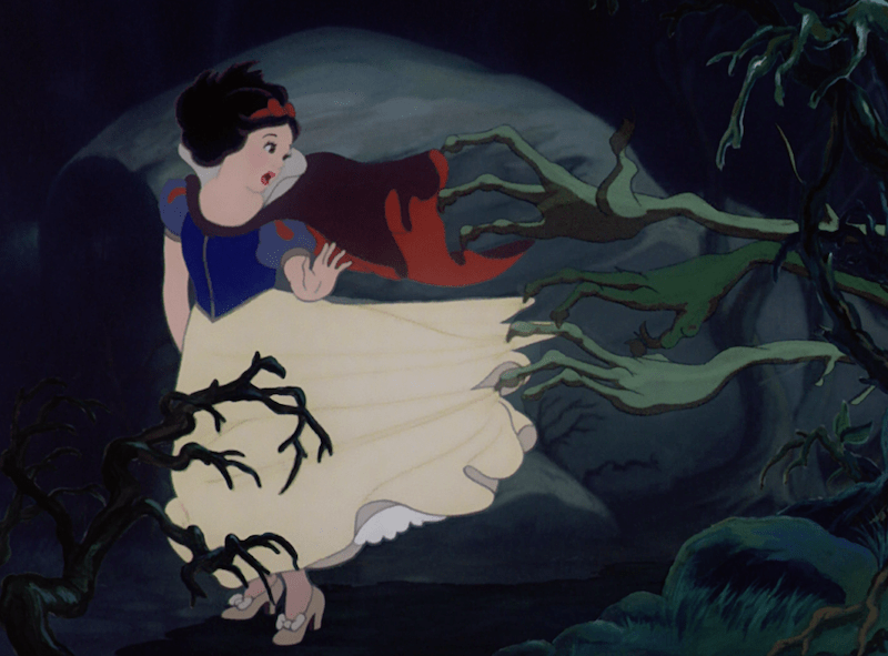 snow white running through the forest, because not asking the 5 whys leads you to create a one person version of the hunger games