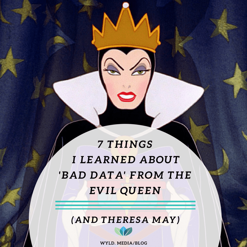 Evil Queen holding a box of bad data, a deer heart she thinks is snow white's. Text in the image reads '7 things i learned about bad data from the evil queen'