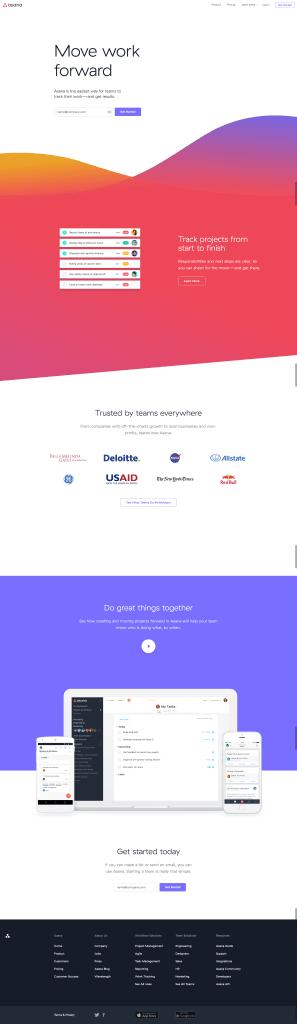 Asana homepage design
