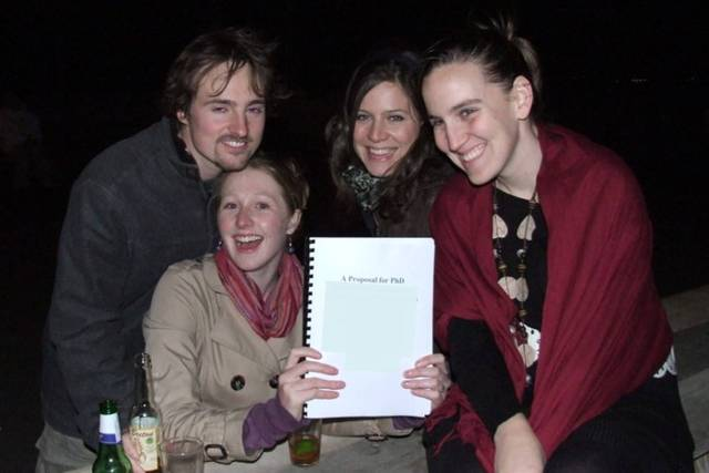 Drinking beer on a rooftop with friends, post-dissertation-binding. Celebrate Your Achievements. WyldeandFree.com