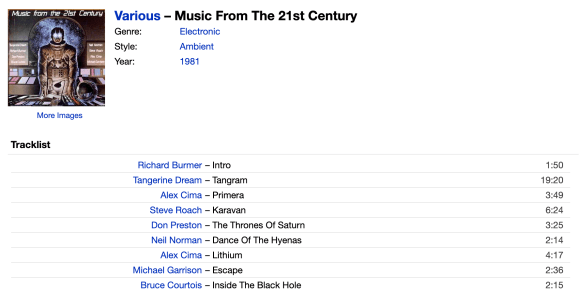 """Image showing details of the album """"Music From The 21st Century"""", including list of tracks."""