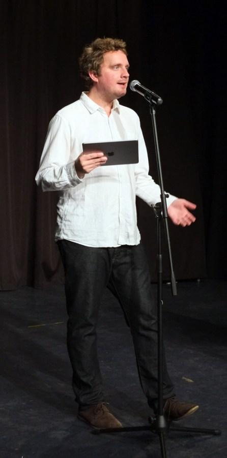 John Osborne reading one of his heartwarming Radio 4 stories (photo: Bob Coe)