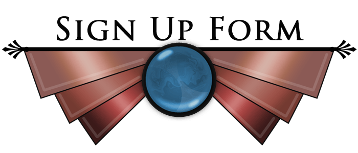 Second Life vintage retro graphic design of metal wings and a blue swirling gem titled - signup form