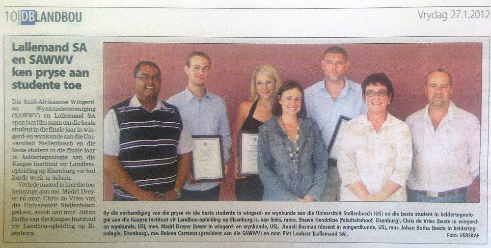 Lallemand SA and SASEV acknowledge best Oenology and Viticulture Students in South Africa