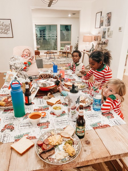 Christmas time meals at the table