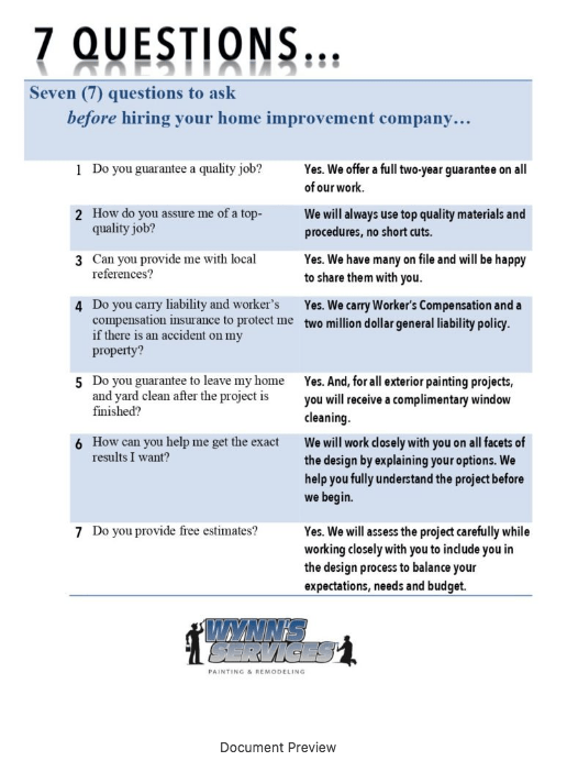 Download the free checklist. Seven (7) questions to ask before hiring your home improvement company.