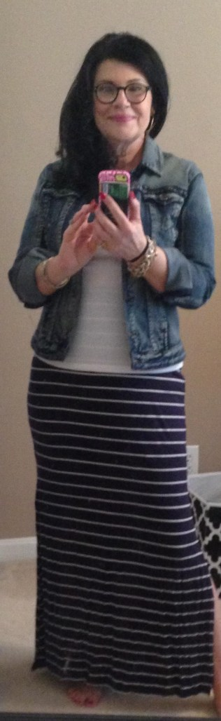 Old Navy stripped maxi with fitted t and denim jacket
