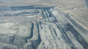 An aerial view of a large strip coal mine in the southern Powder River Basin (Dustin Bleizeffer/WyoFile — click to enlarge)