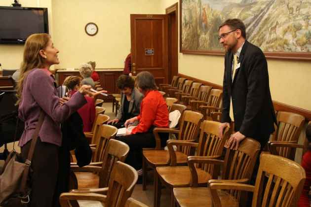 After the meeting on SF 115, Donna Adler, lobbyist with the Catholic Diocese of Cheyenne spoke with Jason Marsden, director of the Matthew Shepard Foundation. Adler is an outspoken critic of the bill, while Marsden has lobbied for similar bills over the past decade. (Gregory Nickerson/WyoFile)