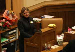 Rep. Ruth Ann Petroff (R-Jackson) sponsored SF 115. She said businesses asked for the bill, and said those concerned about the bill limiting free speech were asking for the right to discriminate. (Legislative Service Office)