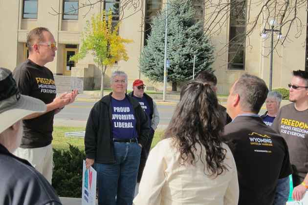 Jeran Artery of Wyoming Equality addresses supporters of LGBT equality during a rally on October 14, 2014, in Casper. The Supreme Court of the United States, by declining to take the case, codified same-sex marriage as recognized by the 10th Circuit Court of Appeals, which has jurisdiction over Wyoming. (Dustin Bleizeffer/WyoFile)