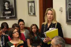 Liz Brimmer speaks to the Senate Judiciary Committee hearing on SF 115 during the 2015 session. She helped form the Compete Wyoming coalition of businesses to back the bill. (Gregory Nickerson/WyoFile)
