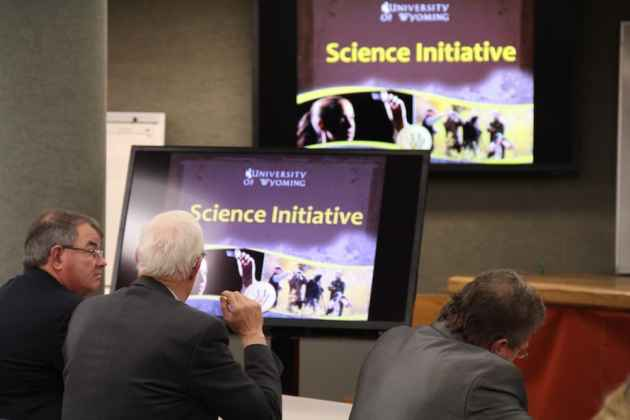Lawmakers listen to a briefing about the proposed University of Wyoming Science Initiative. The 2015 Legislature appropriated $33.75 million to the effort, on top of $115 million committed to the College of Engineering. (Gregory Nickerson/WyoFile)