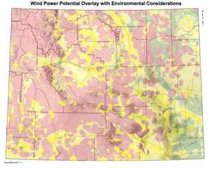 The Biodiversity Conservation Alliance produced this map to show sage grouse areas and wildlife concerns in red, with high wind potential in green. The Pathfinder wind project will now be located in the green triangle of Southeast Wyoming. (Courtesy of Biodiveristy Conservation Alliance)