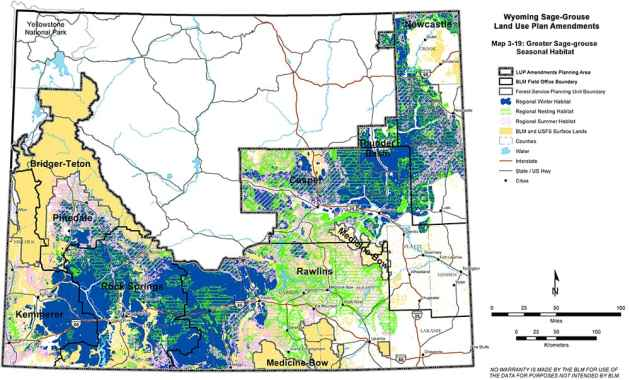 """The BLM recognizes the proposed NPL gas field area to be regional winter habitat, according to this map the agency is using in an analysis for updating sage grouse conservation in six Wyoming BLM districts and three national forest units. The NPL-area winter habitat is dark blue below the label """"Pinedale."""" (BLM)"""