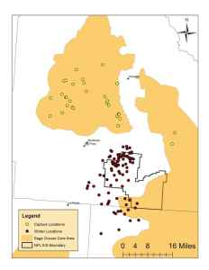 Figure 3. From 2005 to 2011, 84 individual radio-equipped sage-grouse were documented using winter habitats in or near the NPL. Of these grouse, 62 (74%) were captured from leks or late summering habitats located within designated Core areas.