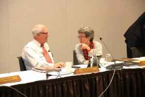 New trustees Dick Scarlett (Wilson) and Michelle Sullivan (Sheridan), both appointed by Gov. Mead in March, voted for open search. (Gregory Nickerson/WyoFile)